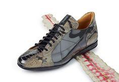 "Mauri - ""8662"" Patent Grey Ostrich Leg/Python/Patent Leather Sneaker"