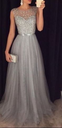 Beading Tulle Prom Dresses,Charming Gray Evening Dresses,A-line Modest Prom Gowns,Long Prom Gowns