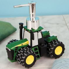 If your little one loves tractors, this John Deere soap dispenser is a great bathroom accessory that any kid will want. Shaped like John Deere tractor easy-to-use pump can be used for liquid soap or l