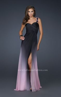 Prom Dress #elegant #sexy #dress. This gorgeous two-tone chiffon is sure to be a show stopper. With a beautiful open back connected to a unique floral strap gives you the perfect amount of sexy and coverage.