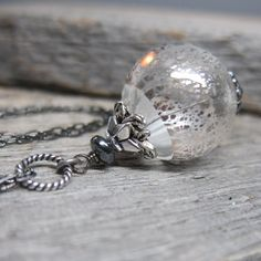 YuleFrost Orb  Silver Foil Handblown Glass by ElementsArtifacts, $26.00