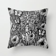 Idiopathic Idiot Throw Pillow by Kristy Patterson Design - $20.00 #skulls, #poppies, #skeleton, #anatomy, #illustration, #butterflies, #lace, #victorian, #skullpillow, #flowerskull, #thorax