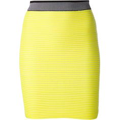T by Alexander Wang Neon Knitted Stretch Cotton Skirt ($400) ❤ liked on Polyvore featuring skirts, mini skirts, yellow, striped short skirt, striped skirt, alexander wang, yellow skirt i elastic waist skirt