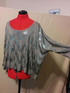 """Dolman Sleeve Knit Top Loose Fit Taupe w/ Sequins Velvet 100% Rayon """
