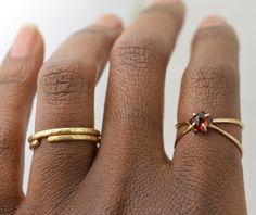 Gold Garnet Ring Garnet Gemstone Ring January by AquarianThoughts