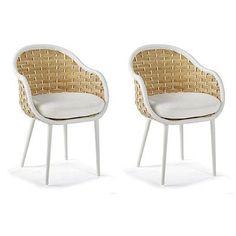Ravello Dining Arm Chair Cushion By Porta Forma - Sailcloth Aruba Rain, Custom Sunbrella Rain - Frontgate