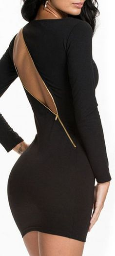 Zipper asymmetrical backless bodycon sexy black dress // love the zip up back! #lbd