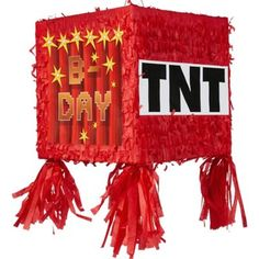 This Pixelated TNT Block Pinata features 'B-Day' printed on it. Party guests will love to compete over who can break open this video game decoration at a video game birthday party!
