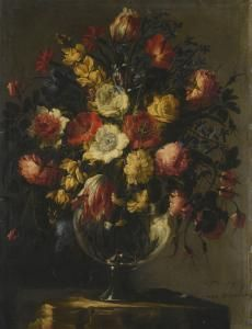 Juan De Arellano Y Francisco Camilo - Still Life With A Large Array Of Flowers In A Glass Vase On A Stone Pedestal