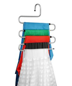 Bonita Silver Twister Hanger   zulily  . $6.99 $13.99 Product Description:  Save space with this innovative hanger that's durable enough to support heavyweight garments like jeans.      14.25'' W x 15'' H     Steel     Imported