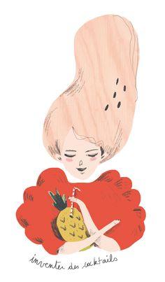 Lucille Michieli (форма, три цвета, мягкий карандаш поверх цветовой заливки)