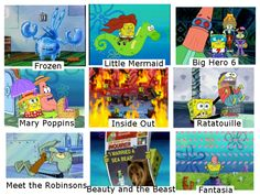 Spongebob and disney lol Funny Spongebob Memes, Funny Memes, Hilarious, Watch Spongebob, Bad Memes, Cartoon Memes, Nico Robin, Disney And Dreamworks, Disney Pixar
