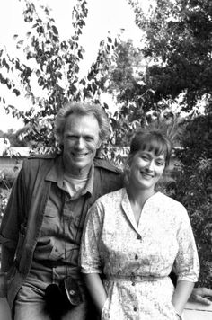 "With Clint Eastwood on the set of ""The Bridges of Madison County"""