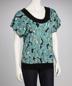 Take a look at this Star Vixen Jade Paisley Angel-Sleeve Top by Star Vixen on #zulily today!