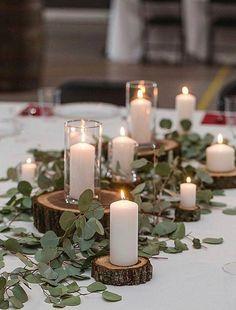 Rustic Wedding Centerpieces, Wedding Table Centerpieces, Centerpiece Ideas, Greenery Centerpiece, Wood Wedding Decorations, Eucalyptus Centerpiece, Rustic Wedding Tables, Greenery Decor, Rustic Weddings