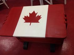 Canadian flag painted in emperors silk and old white. Feet are graphite chalk paint™ decorative paint by Annie Sloan. Flag Painting, Small Tables, Annie Sloan, Granite, Wax, Colours, Silk, Chalk Paint, Canada