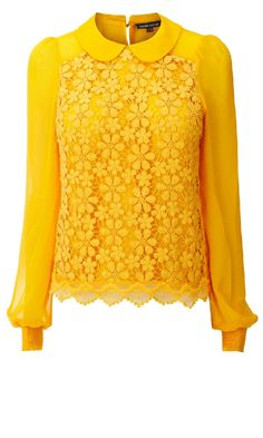 Lace fronted floral blouse with Peter Pan collar, by Warehouse Yellow Fashion, Floral Fashion, Modest Fashion, Yellow Blouse, Yellow Lace, Floral Blouse, Yellow Top, Gold Blouse, Lemon Yellow