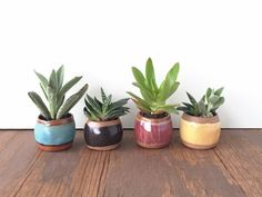Petite Ceramic Planter / Small Pot for Succulents, Cactus, Air Plant / Blue Green, Black, Purple, Yellow / The Knoll Planter / MADE TO ORDER by kristensaksajuen on Etsy
