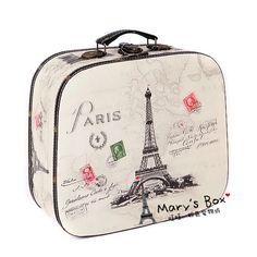 vintage caso de cosméticos, mala de viagem, bolsa de transporte, contendo caixa com projeto de Paris Torre Eiffel