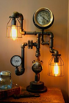 retrowerx: When an Ikea lamp just doesn't cut it what about Steampunk industrial lamp for a warm glow Steampunk Desk, Steampunk Bedroom, Steampunk Machines, Steampunk Interior, Steampunk House, Casual Steampunk, Pipe Lamp, Cool Lighting, Lamp Light