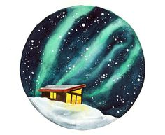 Original watercolor painting Northern lights winter by bluepalette