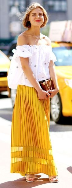 #spring #fashion | We The People White Off The Shoulder Top Yellow Pleated Culottes Tan Mules | We the Peple
