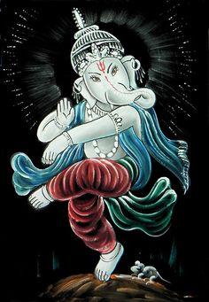 Ganesh Dancing as Nataraj (Painting on Velvet Cloth - Unframed))