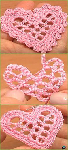 Crochet Mesh Heart Wedding Ornament Free Pattern - Crochet Heart Applique Free Patterns