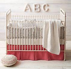 Nursery bedding, girl nursery, baby bedding, restoration hardware baby, r. Girl Nursery Bedding, Baby Nursery Themes, Baby Nursery Neutral, Crib Bedding, Nursery Ideas, Room Ideas, Nursery Inspiration, Grey Crib, Restoration Hardware Baby
