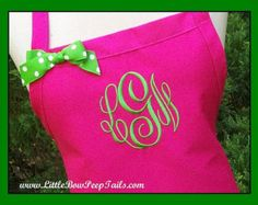 Personalized Hot Pink Apron - Monogrammed Hot Pink Apron, Fuschia Aprons, Kitchen Aprons, Monogram Apron, Womens Baking Apron, Custom apron