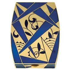 Gorgeous gold and blue enamel deco powder compact. Producer unknown, c. 1920's.