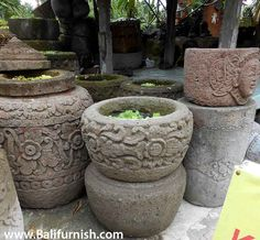 Bali Stone Garden Planters And Pots. Carved Stone Bowls And Vases. Balinese  Stone Garden Decors For Your Tropical Style Garden.