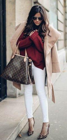 #preppy #fashion / CAMEL FOR FALL COAT// BORDEAUX TURTLENECK // White DENIM: Frame // HANDBAG: Louis Vuitton // SUNGLASSES: Chloe // PUMPS: Christian Louboutin