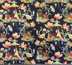 "This timeless chinoiserie fabric pattern ""East of the Moon"" with it's bold colors of red, green,blue and yellow will work in any room in your house.  Our work room has used this  fabric on cornices, shower curtains, and pillows."