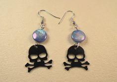 Skull Earrings, Skull & Crossbones, Pirate Skull,  Goth, blue shell Bead…