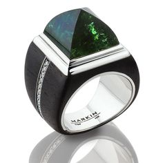 Sneferu Pyramid ring - ebony wood ring with tourmaline and diamonds in white gold.