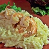 Smoky Grilled Shrimp And Cheesy Orzo: a very quick and tasty dish to prep and make as the seasoned shrimp is broiled or grilled and served on top of this rich, cheesy, creamy pasta dish. The smokiness of the seasoning compliments the sweetness of the shrimp.The orzo cooks in next to no time. I didn't have smoked salt to hand, so used smoked paprika and we really loved it. Would make again, especially as grilling season is almost here,