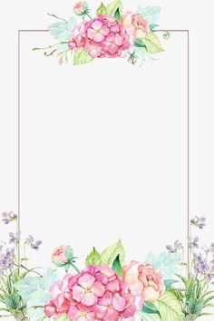 Beautiful flower borders, Flower Borders, Hand-painted Flowers, Flowers PNG and PSD