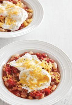 Poached Eggs with White Bean-Tomato Ragout