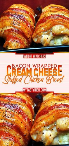 Bacon Wrapped Cream Cheese Stuffed Chicken Breast - Cook And Food Recipes Chicken Breast Recipes Dinners, Best Chicken Recipes, Easy Stuffed Chicken Recipes, Bacon Wrapped Stuffed Chicken, Chicken Stuffed With Cheese, Stuffed Chicken Breasts, Grilled Stuffed Chicken, Chicken And Cheese Recipes, Chicken Recepies