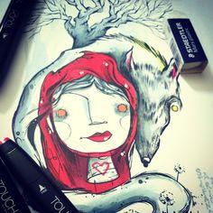 #scarabiss#stefanoarici#flash#illustration#illustrazione#tattooflash#tattoo#littleredridinghood#cappuccettorosso#lupo#wolf#loup#disegno#arte#art#caperucitaroja