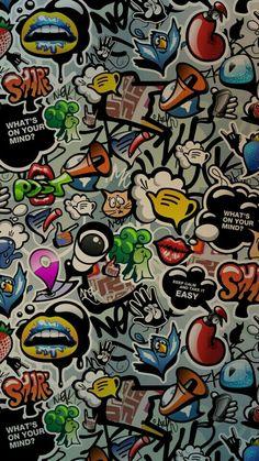 Show ne view Sticker Bomb Wallpaper, Graffiti Wallpaper Iphone, Crazy Wallpaper, Pop Art Wallpaper, Cartoon Wallpaper, Galaxy Wallpaper, Wallpaper Backgrounds, Iphone Wallpaper, Graffiti Doodles