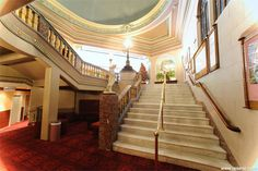 Regent Theatre in Dunedin, New Zealand. Theatre Posters, Back In Time, New Zealand, Stairs, Ceiling, Architecture, Arquitetura, Stairway, Staircases