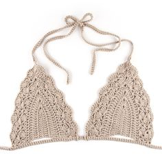 Image of Triangle Crochet Bikini Bra - BeigeWould be pretty under a sheer top in the summerCrochet World added a new photo.You will love this Crochet MocShop stylish women's swimwear at FABKINI & find tankinis, bikinis, one-piece swimsuits, monokinis & mo Crochet Halter Tops, Motif Bikini Crochet, Crochet Bathing Suits, Crochet Bikini Bottoms, Crochet Bra, Mode Crochet, Crochet World, Crochet Crop Top, Crochet Clothes