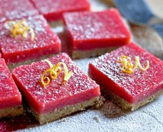 Cranberry Curd Bars with Walnut Shortbread Crust