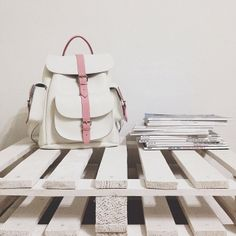 Rose white and pink leather rucksack by Grafea www.grafea.co.uk