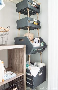 Simple Hanging Closet Storage Crates with Rope Table and Hearth is part of Nursery baby room - Use that vertical space by making these super simple Hanging Closet Storage Crates with rope! Plenty of storage in less than an hour of work! Hanging Closet Storage, Kids Closet Storage, Children Storage, Small Nurseries, Boy Nurseries, Vertical Storage, Small Storage, Diy Storage, Organizing Ideas