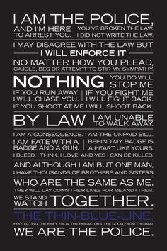 I am the policethin blue line poster by Valor7 on Etsy, $35.00