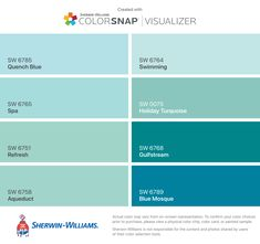 I found these colors with ColorSnap® Visualizer for iPhone by Sherwin-Williams: Quench Blue (SW Spa (SW Refresh (SW Aqueduct (SW Swimming (SW Holiday Turquoise (SW Gulfstream (SW Blue Mosque (SW Bedroom Paint Colors, Interior Paint Colors, Paint Colors For Home, House Colors, Turquoise Paint Colors, Turquoise Door, Turquoise Painting, Sherwin Williams Tidewater, Sherman Williams