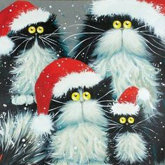 """Purrfect Christmas"" Art cards by Kim Haskins. Christmas Animals, Christmas Cats, Merry Christmas Wishes, Christmas Print, Christmas Christmas, Crazy Cat Lady, Crazy Cats, Splat Le Chat, Frida Art"